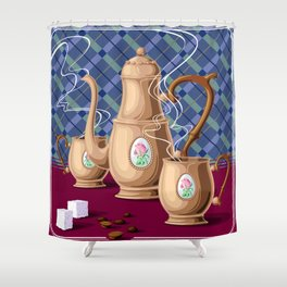 Coffee pot and two cups Shower Curtain