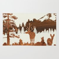 woodland Area & Throw Rugs featuring woodland by jefdesigns