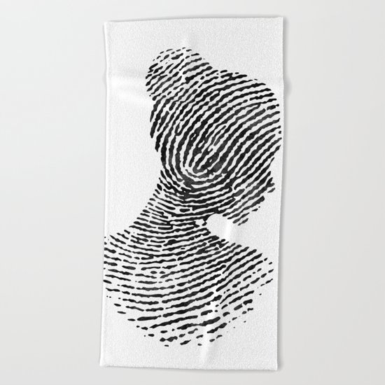 Fingerprint Silhouette Portrait No.1 Beach Towel