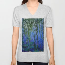 Claude Monet - Water Lilies with weeping willow branches Unisex V-Neck
