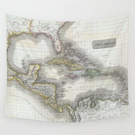 Vintage Map of The Caribbean (1814) Wall Tapestry