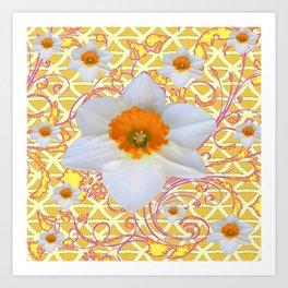 WHITE DAFFODILS DELICATE VIOLET SCROLLS ART  PATTERN Art Print