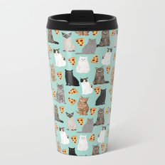 Cats with Pizza slices cheesy food funny cat lover gifts by pet friendly pet portraits Metal Travel Mug