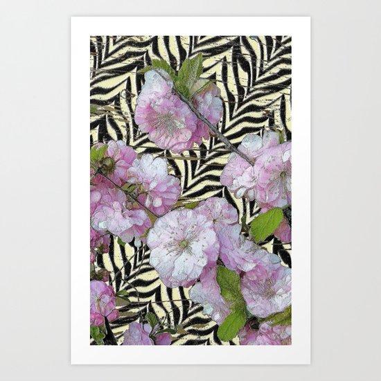 Funky Zebra & Prunus Art Print