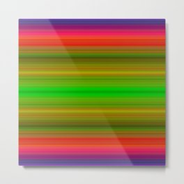 Bright Lined Green Orange Yellow Purple Colors Metal Print