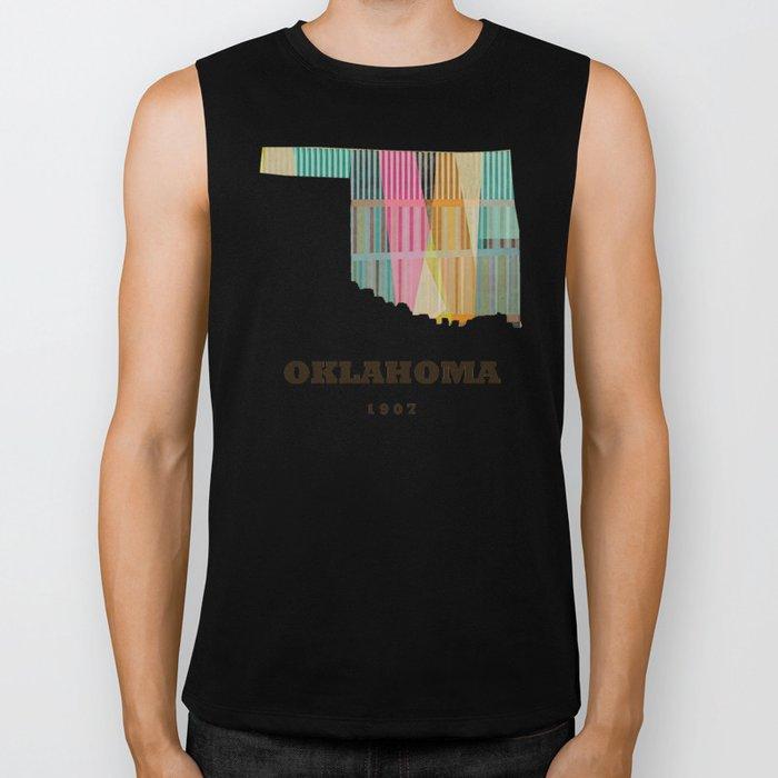 Oklahoma state map modern  Biker Tank