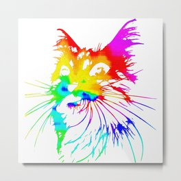 tie dye cat splash art Metal Print
