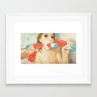 women Framed Art Prints featuring Bombs Away by keith p. rein