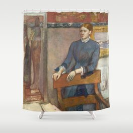 Helene Rouart in her Father's Study by Edgar Degas Shower Curtain