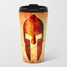 Spartan Helmet On Rust Background With A Color Burn Effect Travel Mug
