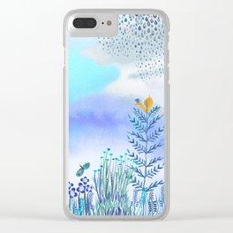 Blue Garden II Clear iPhone Case