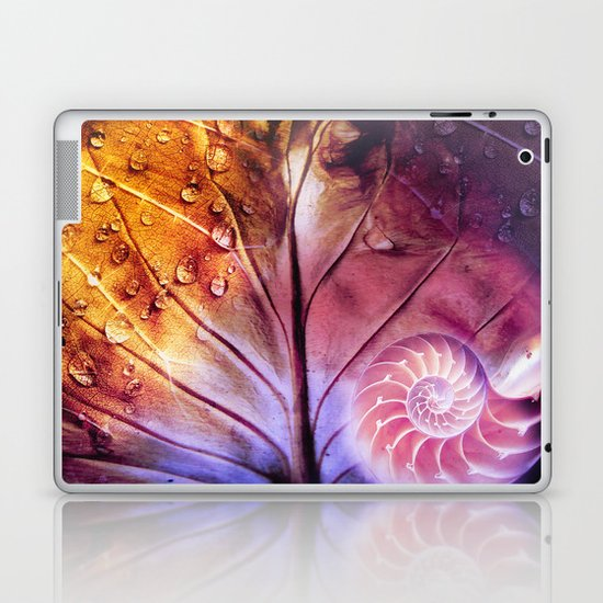 SHELTERED - Conceptual Composing with shell, leaf and waterdrops Laptop & iPad Skin