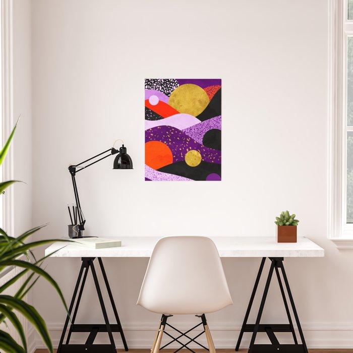 Terrazzo galaxy purple orange gold Poster