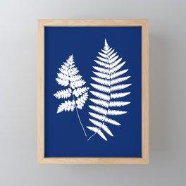 Woodland Fern Pattern, Cobalt Blue and White Framed Mini Art Print