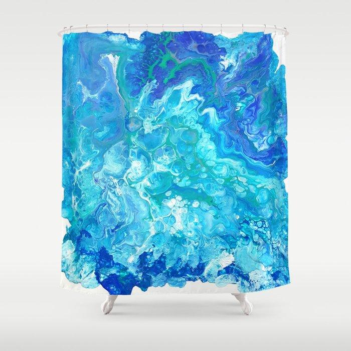 Aqua Ocean Blue Shower Curtain