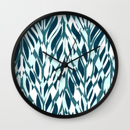 Abstract Jungle Teal Wall Clock