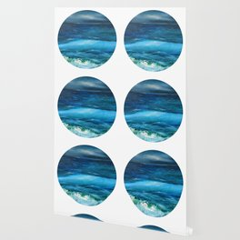 Blue seascape breeze with storm clouds. Oil painting seascape circle wall art decor. Wallpaper