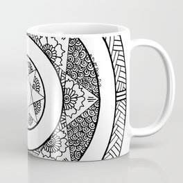Flower Star Mandala - White Black Coffee Mug