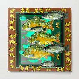 YELLOW MONARCH BUTTERFLIES & BROWN  FISH VIGNETTE Metal Print