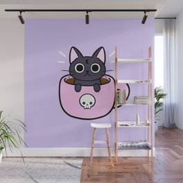 Pastel Coffee Cat Wall Mural