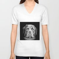 rottweiler V-neck T-shirts featuring Rottweiler Drawing By Annie Zeno by Annie Zeno