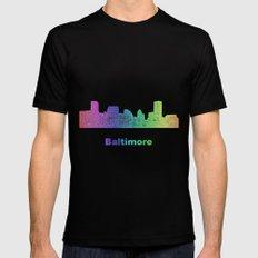 Rainbow Baltimore skyline Black MEDIUM Mens Fitted Tee