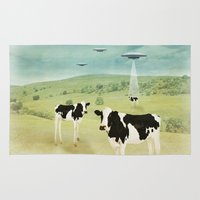 vegetarian Area & Throw Rugs featuring we all like burgers _ US AND THEM  by Vin Zzep
