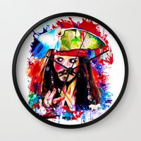 jack sparrow Wall Clocks featuring Captain Jack Sparrow by isabelsalvadorvisualarts