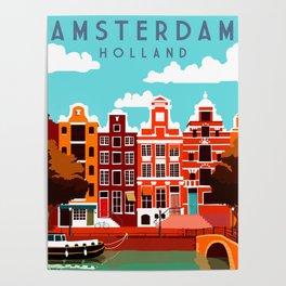 Vintage Amsterdam Holland Travel Poster