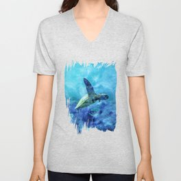 Sea Turtle Into The Deep Blue Unisex V-Neck