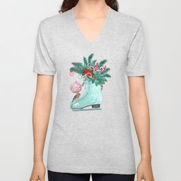 Christmas Ice Skates with Holly, Robins, Poinsettia, Candy Canes and baubles Unisex V-Neck