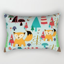 Woodland fox blue Rectangular Pillow