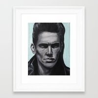 james franco Framed Art Prints featuring a young james franco by Emma Berlin