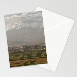 City of Arequipa in Peru with its iconic fields and volcano Chachani Stationery Cards
