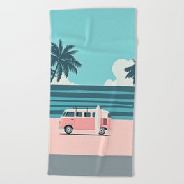 Surfer Graphic Beach Palm-Tree Camper-Van Art Beach Towel