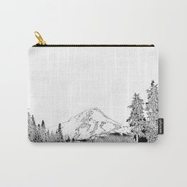Mount Hood Oregon Black & White Sketch Carry-All Pouch