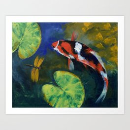 Showa Koi and Dragonfly Art Print