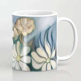 """""""Retro Vintage Bouquet of White and Blue Flowers"""" Coffee Mug"""