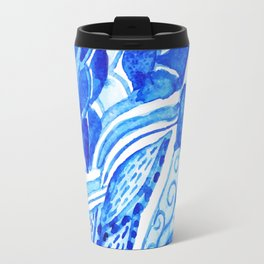 watercolor blue composition Travel Mug