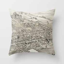 Vintage Pictorial Map of Hackettstown NJ (1883) Throw Pillow