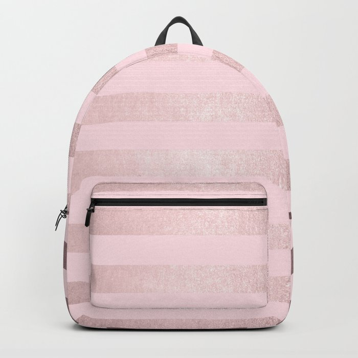 Shimmer Stripes Rose Gold Palace on Pink Backpack