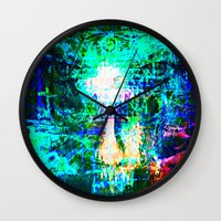 "hologram Wall Clocks featuring "" The voice  is a second face"" by shiva camille"