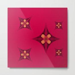 Pata Pattern in Black on Pink Metal Print