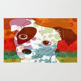 Abstract Colorful Jack Russel Terrier  Rug