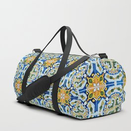 Seamless Floral Pattern Ornamental Tile Design : 6  blue, yellow Duffle Bag