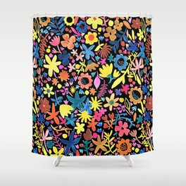 Autumm´s flowers and black Shower Curtain