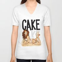 cake V-neck T-shirts featuring CAKE  by Helen Green