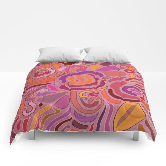 Rose fragments, pink, purple and orange Comforters