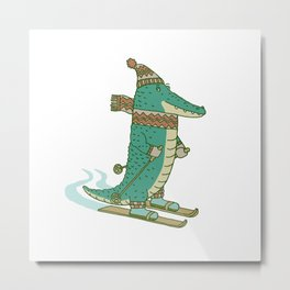 crocodile on skis Metal Print