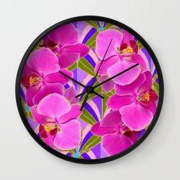 Pink & Fuchsia Purple Art Deco Orchids Art Wall Clock